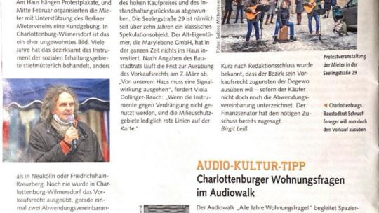 Die Seeling29 im MieterMagazin des Berliner Mietervereins